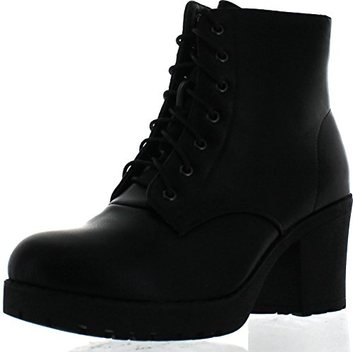 Refresh Club-02 Women's Lace Up Side Zip Platform Chunky Combat Ankle ()
