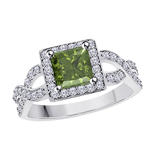 DreamJewels 2.00 Ct Princess Cut Halo Pave Eternity Lab Created Dark Green Peridot & White CZ Split Shank Engagement Ring in 14k White Gold Plated Size 4-12