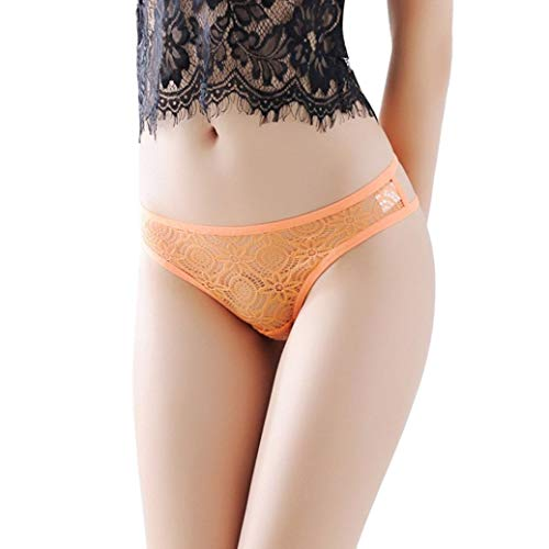 Women Thongs Sexy Lace Panties G-String Half Back Coverage Panties Underwear (Orange) ()