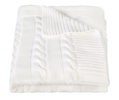 Arus Turkish Cotton Cable Knit Throw Blanket, Cream