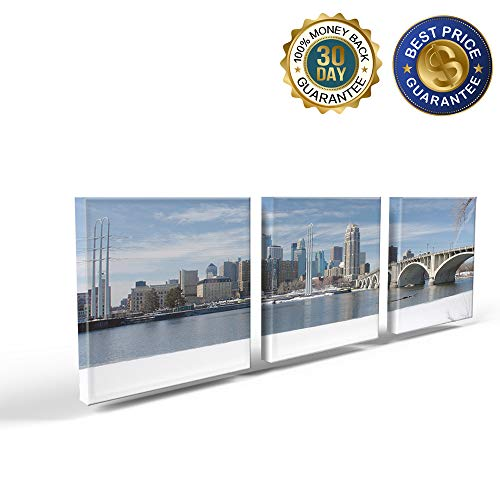 3 Panels Canvas Print Wall Art Winter Snow Scene in Minneapolis City Wall Decor Pictures for Living Room Modern Artwork Paintings Photographs Stretched and Framed Ready to Hang 12X12inch -