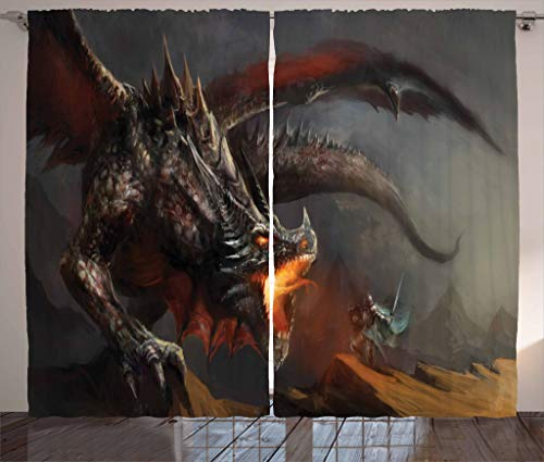 Ambesonne Medieval Decor Collection, Fantasy Scene Fearless Knight Fighting with Dragon Danger Fire Breathing Mythology Themed Art, Living Room Bedroom Curtain 2 Panels Set, 108 X 84 Inches, Paprika