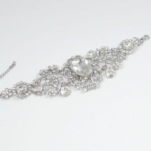 Ever Faith - Noces Ton d'Argent Lace Dessin Fleur Bracelet Cristal Autrichien Clair N01941-1