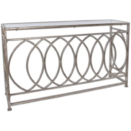 Uttermost Aniya Glass Top Console Table With Antiqued Silver Leaf Iron With Clear Glass Top