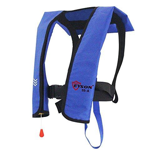 Eyson Inflatable Life Jacket Life Vest Basic Automatic/Manual (Blue Auto) (Best Inflatable Life Vest For Fishing)