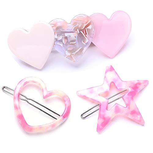 3-Pack Tortoise Shell Hair Clips Set Pink Star Love Heart Acrylic Resin Barrette Hair Pins for Women Girls ()