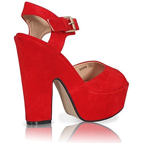Damen-Plateau-Sandale, dicker Absatz, Peep Toe, Knöchelriemen, Sandalen/Schuhe Rotes Wildleder