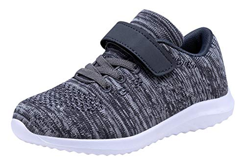 Umbale Girls Flyknit Sneakers Comfort Running Shoes(Toddler/Kids) (13 Little Kid, Dark Grey)