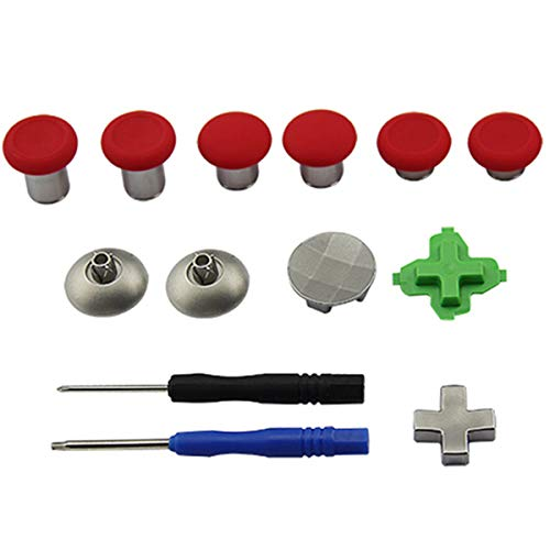 Replaceable Xbox One Elite Accessories Parts Kit,11-in-1 PS4 Switch Controller Part(6 Different Metal Analog Sticks, 2 Metal thumbsticks, 3 D-Pads and 2 Screwdrivers)