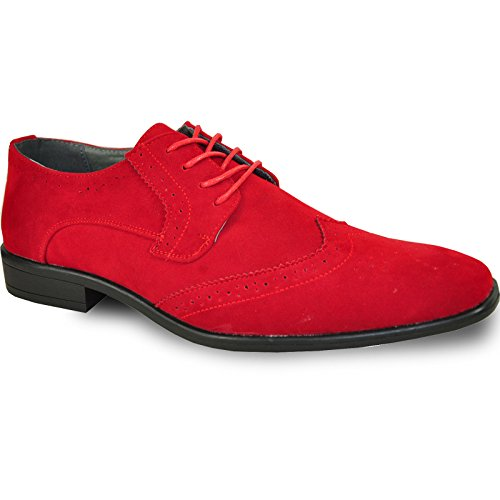 BRAVO Men Dress Shoe KING-3 Classic Faux Suede Oxford with Leather Lining - Wide Width Available,8.5 D(M) US,Red
