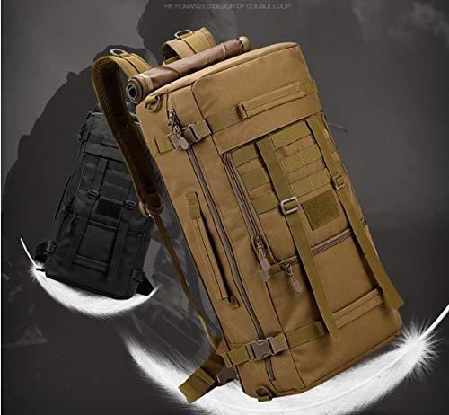 Chunsu 50L Hiking Backpack Camping Bag Army Military Tactical Rucksack Camo Trekking Large Bags(Black)