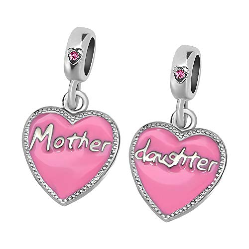 (Daisy Jewelry 2PCS Mom Mother to Daughter Heart Charm Bead for Bracelet Girls Gifts (Mother Daughter))