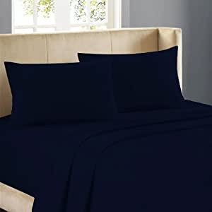 Nile Bedding Egyptian cotton 19 Inches Deep Pocket Sheet Set 650 TC Solid ( King , Navy Blue)