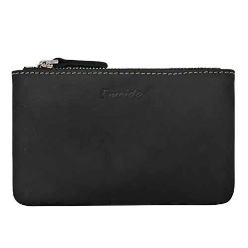(Men Coin Purse Pouch Fmeida Leather Slim Wallet Zipper Change Holder(Black))