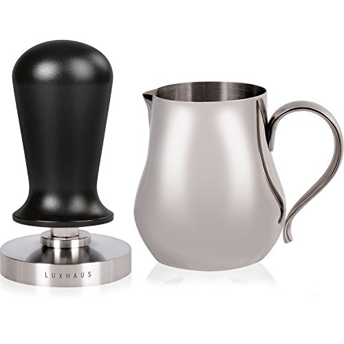 LuxHaus 58mm Calibrated Espresso Tamper - Flat Base Coffee Tamper with Accurate Pressure and 12oz Milk Pitcher