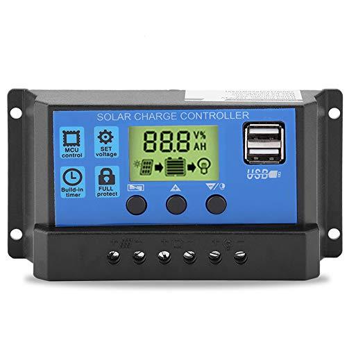 Akozon Solar Ladegerät Controller Solarpanel Laderegler Solarladegerät-Controller Intelligentes Panel-Batterie-Regler PWM 12V 24V Dual-USB Solar Laderegler LCD Panel Laderegler(YJSS-20A)
