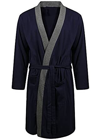 Mens Dressing Gowns Pajamas Sleepwear Lighweight Cotton Jersey Gowns ... ac023047d