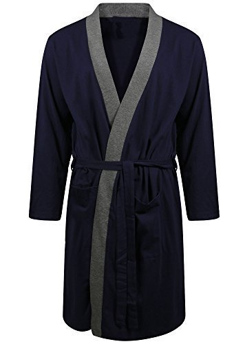(XX-Large, BLUE WITH CONTRACT EDGE) - Mens Dressing Gowns Pyjamas Sleepwear Lighweight Cotton Jersey Gowns: Amazon.es: Ropa y accesorios