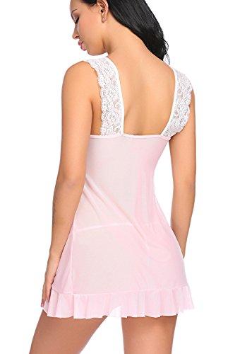 Sexy Da Vestito Donna Modfine In Sleepwear Rosa Trasparente Pigiama Pizzo PZwvqAx