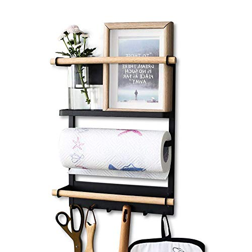 Magnetic Refrigerator Organizer Rack Multifunction Fridge Storage Shelf Wooden Paper Towel Holder with 6 Hooks, Black