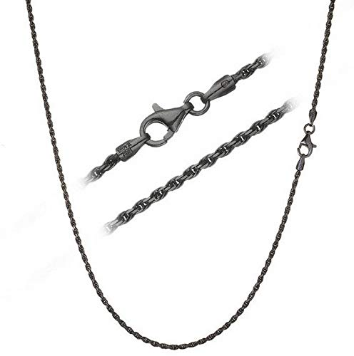 Florance jones Black Rhodium Over 925 Silver 1.7mm Italian Diamond Cut Chain Necklace | Model NCKLCS - 12450 | 24 - inch - 60cm ()