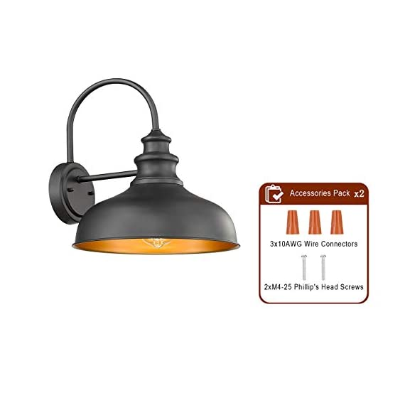 Bestshared Farmhouse Wall Mount Lights, Gooseneck Barn Light, 2 Pack Outdoor Wall Lantern for Porch in Black Finish with… - Black Finish with Copper Interior: the Black Finish fit any decor while the copper interior reflects light perfectly to form a extremely accent contrast Simple Industrial Design: The simple, traditional design of this light fixture looks great with any style of decor Bulb Requirement: Hard wired. Requires 1x E26 base bulb(Max.100W). BULB NOT INCLUDED. - patio, outdoor-lights, outdoor-decor - 41Nr1SvGrzL. SS570  -