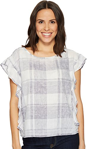 Two by Vince Camuto Women's Extend Shoulder Ruffled Sleeve Quaint Plaid Blouse Grey Heather Medium ()