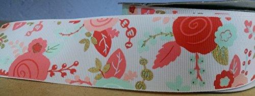 (Coral Pink & Gold Floral Grosgrain Ribbon - 3 Yards)