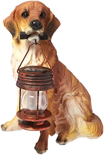 - Garden Sun Light B5190A Golden Retriever Dog With Lantern Solar Light - Tan-Brown