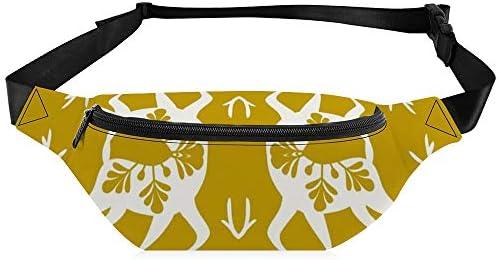 雪の中を駆け抜けるクリスマス鹿イエローゴールド ウエストバッグ ショルダーバッグチェストバッグ ヒップバッグ 多機能 防水 軽量 スポーツアウトドアクロスボディバッグユニセックスピクニック小旅行