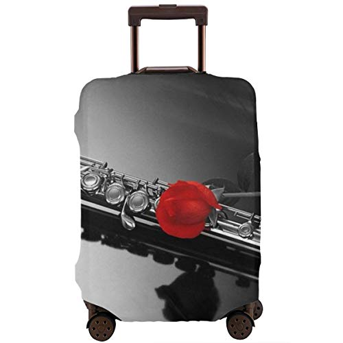 Yuotry Travel Luggage Cover - Rose Flute Zipper Suitcase Protector Luggage with Fixed Buckle Fits 18-32 Inch Luggage L