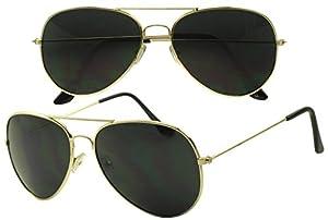 SunglassUP - Dark Black Limo Tint Top Gun Pilot Aviator Sunglasses