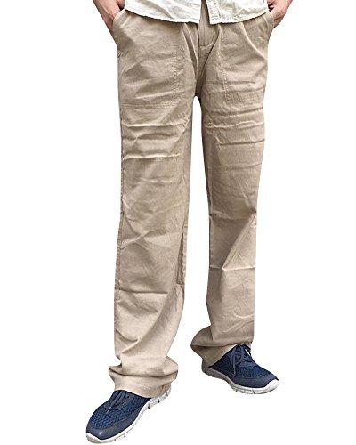 Caqui Lino De Con Cordón Largos Casuales Pantalones Hombre Bolsillos Y Cintura Oscuro Para tqxxEPw61p