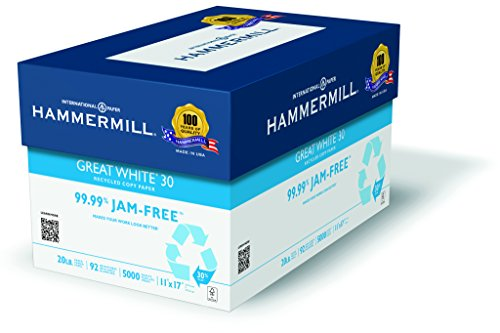 Hammermill Paper, Great White 30% Recycled Printer Paper, 11 x 17 Paper, Ledger Size, 20lb Paper, 92 Bright, 5 Reams / 2,500 Sheets (086750C) Acid Free Paper (Bright White Proofing Paper)