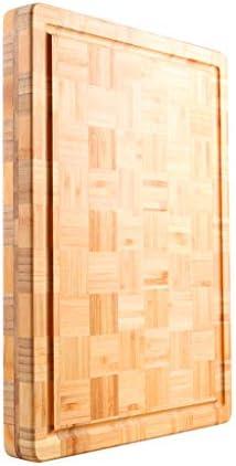 竹のまな板刻んだ野菜用のリバーシブルジュースグルーヴ厚いカッティングボードチーズ調理済みおよびローフードホームキッチンカッティングボード14.17x 10.23 x 1.57インチ