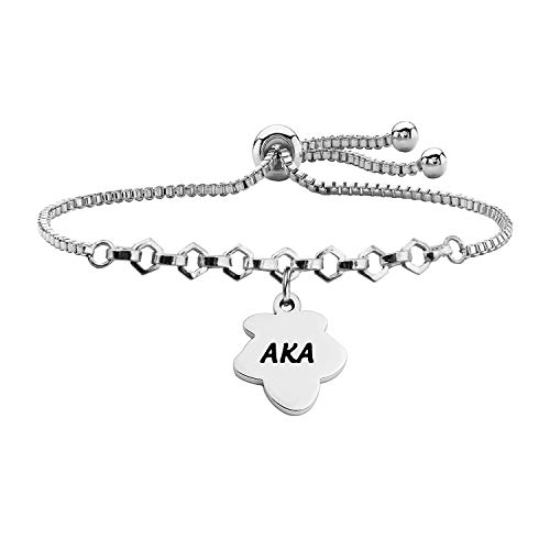 BNQL Alpha Kappa Alpha Sorority Bracelet Ivy Leaf Charm Bracelet with Adjustable Slider Chain (AKA Slider Chain S)