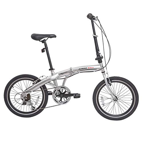 Lightweight Folding Bicycle - Murtisol Folding Bike 20'' Hybrid Bicycle Reinforced Frame Commuter Bike with 6 Speeds Derailleur, Durable Frame, Adjustable Seat,Silver