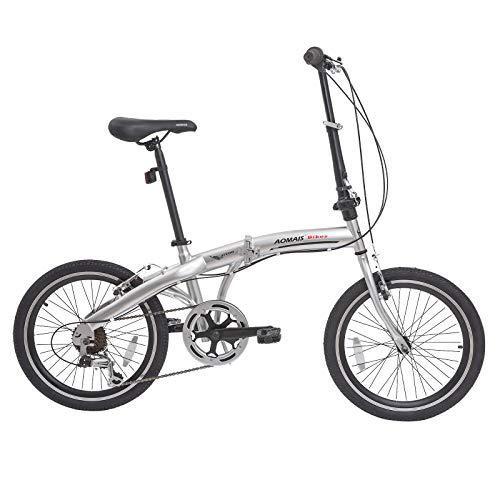 Murtisol Folding Bike 20'' Hybrid Bicycle Reinforced Frame Commuter Bike with 6 Speeds Derailleur, Durable Frame, Adjustable Seat,Silver