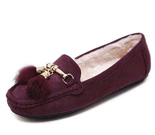 D2c Beauty Dames Flats Huis Slippers Mocassins Rijschoenen Slip Loafers Paars