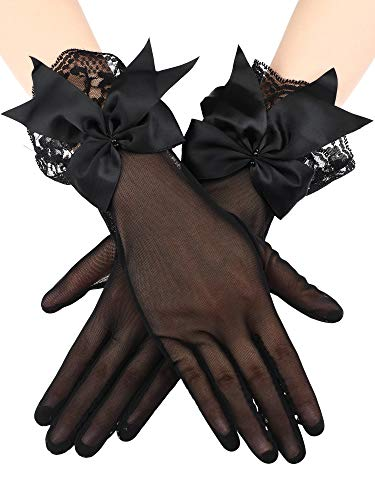 (Sumind Lace Opera Gloves Fingerless UV Protection Gloves Summer Gloves for Women Girls (Black 4, Wrist Length))