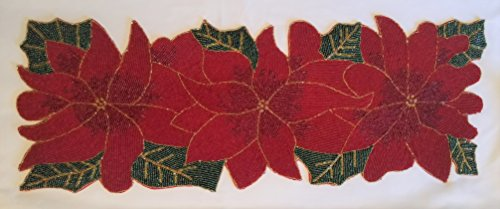 Winter Holiday Christmas Table Runner Beaded Poinsettia Flower Leaves (Poinsettia Table Runner)