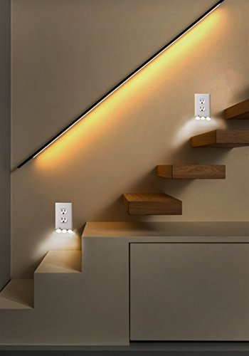 Outlet Wall Plate With Led Night Lights - 4 pack Duplex - Build on Sensor Nights Light - Electrical cover Plates Nightlight - Covers Plate Energy Efficient nightlights by Smart Outlet (Image #5)