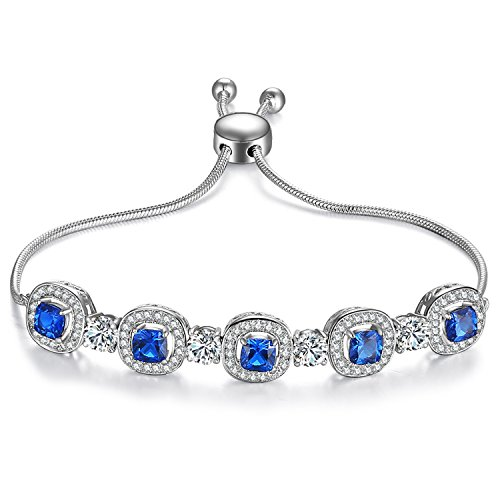 Caperci Adjustable White Gold Plated Cushion-Cut Blue Sapphire Jewelry Bolo Bracelet for Women by Caperci