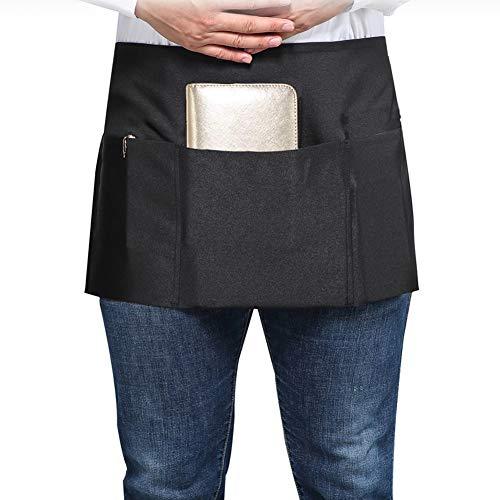 SONGXIN Server Aprons with 3 Deep Pockets - Waist Apron Waiter Waitress Apron Water Resistant Added Long Waist Strap Reinforced Seams Half Apron for Women Man Restaurant Apron, Black (3 Waist Apron Pocket)