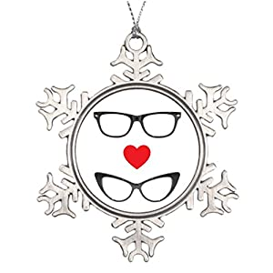 Tree Decorating Ideas Humorous Geek Love - Heart Eyeglasses Personalized Christmas Decorations