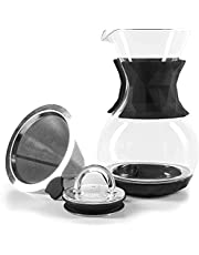 Uno Casa Pour Over Coffee Maker - 4 Cups, 34 Oz Pour Over Coffee Dripper with Permanent Stainless Steel Filter