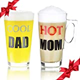 Cheap Cool Dad & Hot Mom Glass Set of 2 – Beer Glass for Dad and Latte Coffee Cup for Mom – Novelty Glassware Gift idea for Mr and Mrs, His Her Couple Birthday Present, Gift for Mom and Dad – Parents.