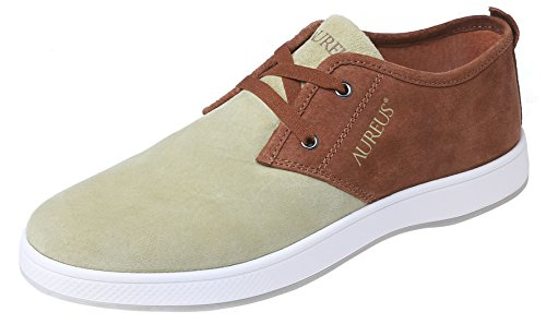 Aureus Men's Evolutio Light Olive/Chestnut Brown Nubuck Leather Low Top Boat Shoe Size 9.5 M (Light Brown Nubuck Leather)