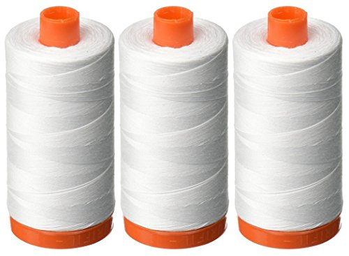 3-PACK - Aurifil 50WT - White, Solid - Mako Cotton Thread - 1422Yds EACH