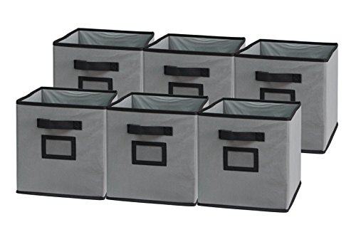 (Sodynee Foldable Cloth Storage Cube Basket Bins Organizer Containers Drawers, 6 Pack, Black/Grey)